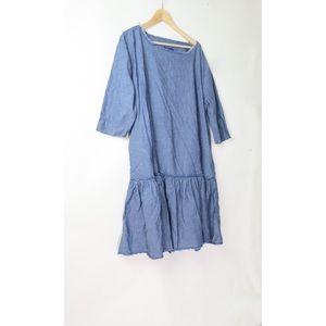 Waved chambray drop waist dress L